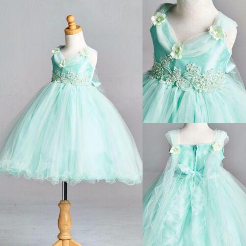 NEW Mint Wing Dress Tulle Elegant Holiday Pastel Easter Wedding Flower Girl#33