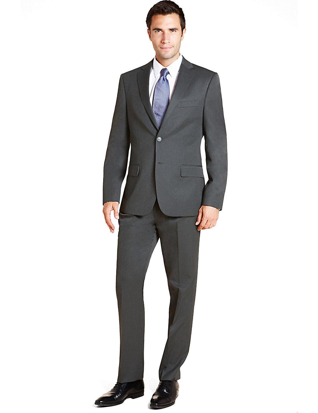 M&S COLLECTION Grey Slim Fit Easy Care Pinstripe Suit Sz M  36L & 38L
