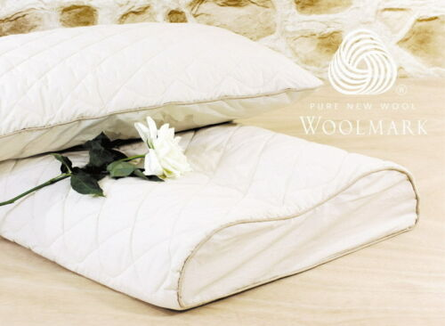 Contoured Latex Pillow Washable Organic Cotton Wool Protector 60x40x12//10cm