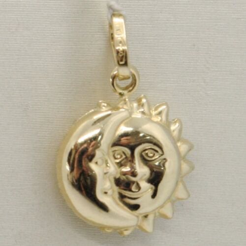 SMOOTH SATIN MADE IN ITALY 18K YELLOW GOLD ROUNDED SUN /& MOON PENDANT TWO FACES