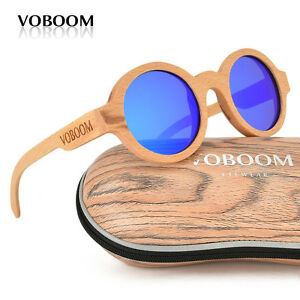 hommes-femmes-bambou-polarise-lunettes-de-soleil-Rond-Hetre-bois-lunettes