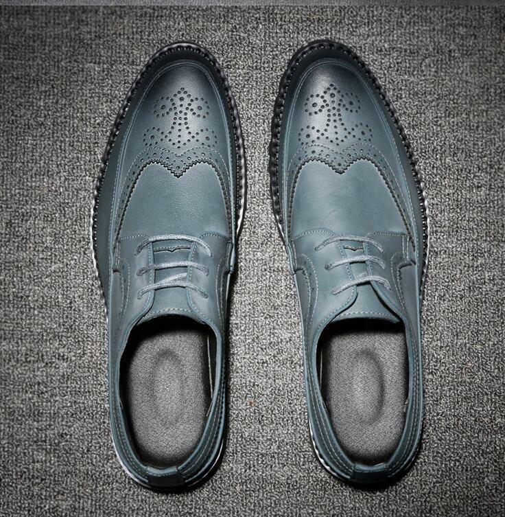 Mens Lace Up Pointed Toe British Brogue Business Dress Formal Wedding shoes New