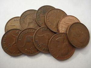QEII Bulk Lot Australian Half Pennies 20 Coins 20 Different Dates KGV