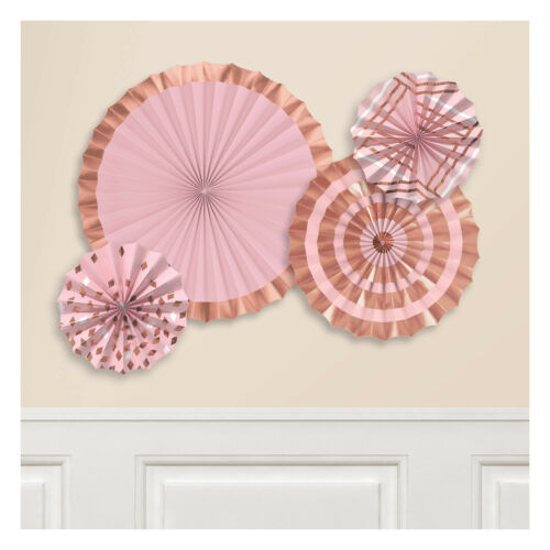 Rose Gold Blush Hanging Foil Stamped  Paper Fans Party Decorations  x 4