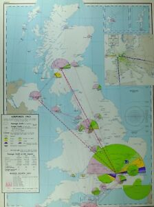 VINTAGE-LARGE-MAP-of-BRITAIN-AIRPORTS-1960-PASSENGER-FREIGHT-TRAFFIC-LONDON