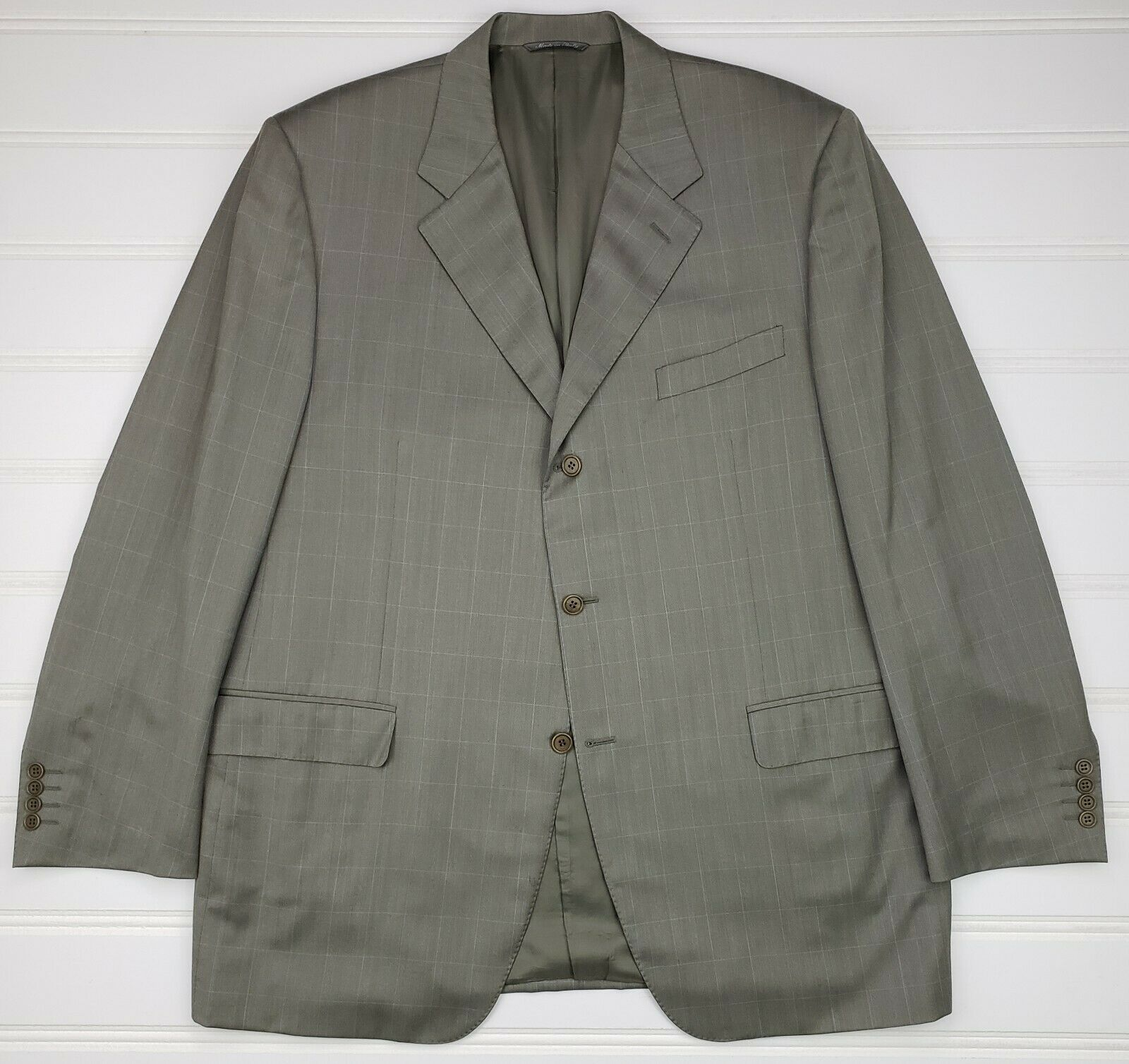 Canali Sport Coat 50L Green bluee Windowpane 3 Button Mens Wool Lined Size