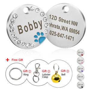 Engraved-Dog-Tags-Disc-Disk-Cute-Paw-Rhinestone-Personalised-Cat-Pet-ID-Name-Tag
