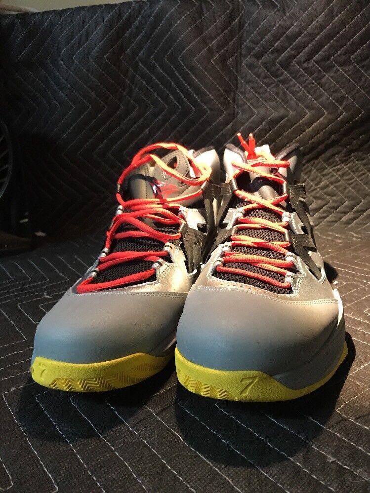 Nike Jordan Melo M7 Basketball Shoes Size 12 Metallic Gray Black Red Yellow
