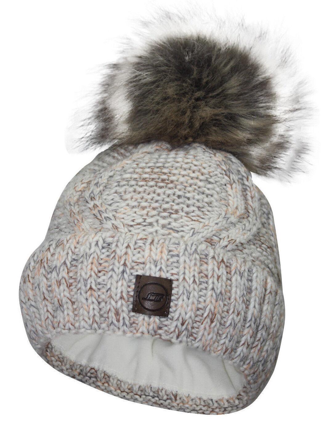 Damen Mütze Bommelmütze Strickmütze Kunstfell Winter  Beanie gefüttert warm TOP