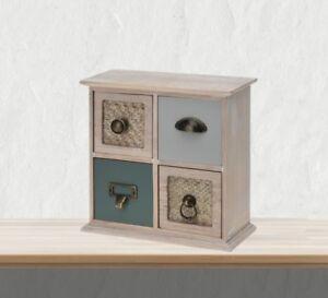 Mini Kommode Schmuckkästchen Holz 4 Schubladen Schubladenschrank Shabby Chic