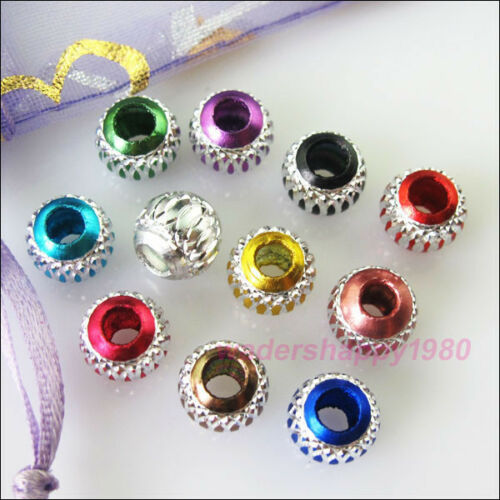 40 New Charms Mixed Silver Carved Lantern Aluminium Spacer Beads 8mm