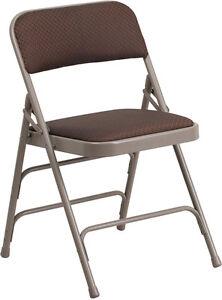 HERCULES Series Brown Fabric Upholstered Metal Folding Chair AW-MC309AF-BRN<wbr/>-GG
