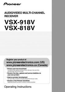 pioneer vsx 818v receiver owners manual ebay rh ebay co uk Pioneer VSX -D457 Manual Top Rated Pioneer Receivers