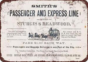 "1882 Deadwood South Dakota Stagecoach Vintage Rustic Retro Metal Sign 8"" x 12"""