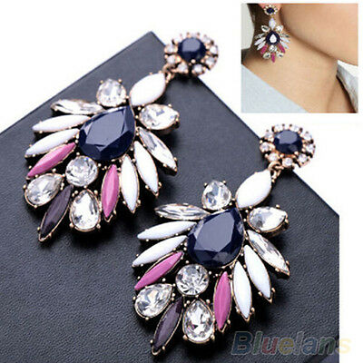 Womens Ornate Charm Gem Dangle Earrings Nice Flossy Crystal Statement Ear Studs