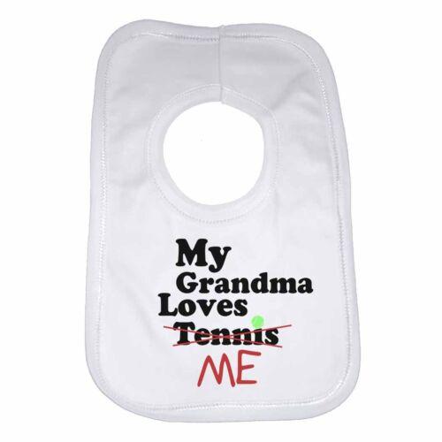 My Grandma Loves Me not Tennis Personalised Baby Bib Funny Gift Clothing Cute
