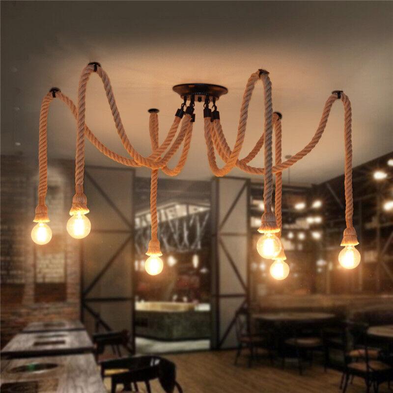 Lámpara Colgante Industrial 4 6 8 10 12 Cabeza Luz de Techo Lámpara De Cuerda De Cáñamo