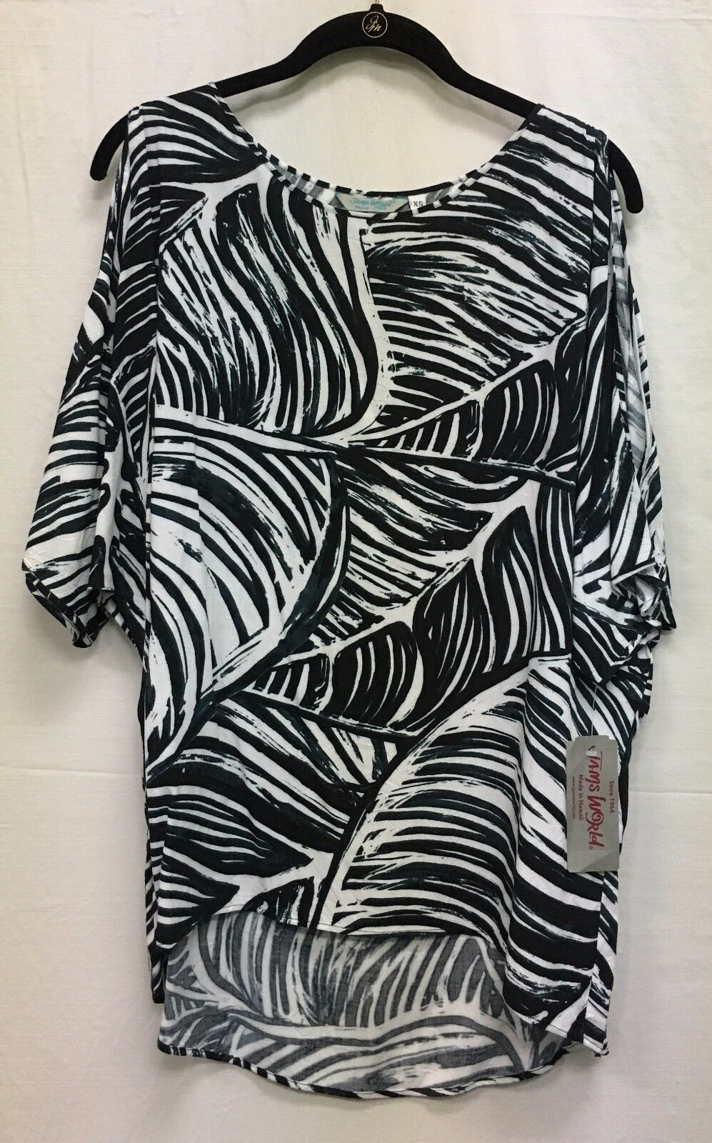 Jams World Peek a Boo Tunic Shirt Zaleef Print Cold Shoulder Style W654-ZEEF NEW