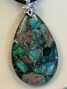 Vintage-Blue-Natural-Green-Stone-Mosaic-Pendant-Necklace-With-Black-Cord-Chain