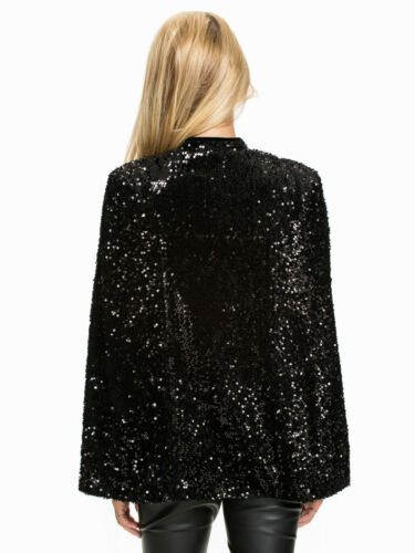 Bnwt Nly Sharp Style Celebrity Bloggers Cape Trend Eu36 Uk8 Sequin Jacket Zwart nfnPHr