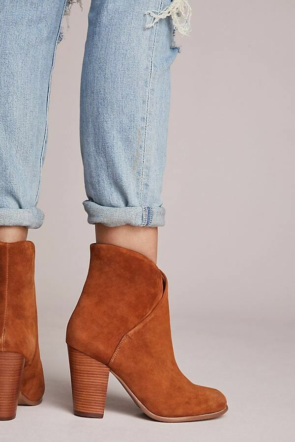 JOE'S JEAN'S ANTROPOLOGIE Trisha Ankle Stiefel Suede Camel Größe 8.5 M