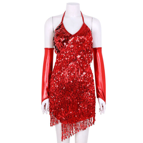 Women Sequin Halter Fringe Dress Rumba Latin Dance Dress Tassel Ballroom Costume
