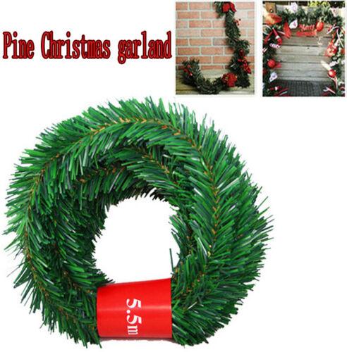 Artificial Pine Green Tree Christmas Garland 5.5m meters Wreath Door Decor UK