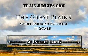 """TrainJunkies N Scale """"The Great Plains"""" Backdrop 12x80"""" C-10 Brand New"""