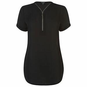 Golddigga-Woven-Top-Ladies-Crew-Neck-Shirt-Short-Sleeve-Lightweight-Cotton-Zip