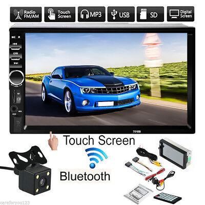 7'' Touch Screen 2Din Car Radio FM AUX MP5 Player Bluetooth USB + Rear Camera
