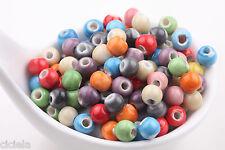 Wholesale 50Pcs Round Soild Designs Ceramic Spacer Beads Porcelain Charm DIY 6mm