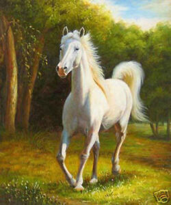 ZOPT121 100% hand painted ART landscape animal horse OIL PAINTING ON CANVAS