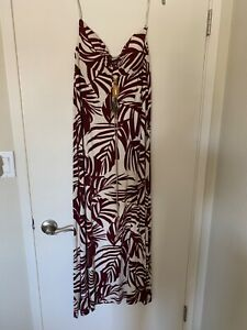 TOMMY-BAHAMA-Sz-S-White-Purple-Floral-strapless-Long-Maxi-Stretch-Dress