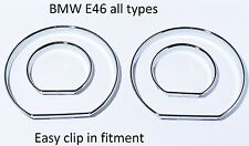 NEU BMW E46 tachoringe chrom gauge ring instrument cluster M3 verchromt poliert