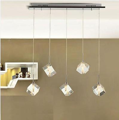 NEW Modern Bar Cubic LED Crystal Light Pendant Lamp Chandelier Ceiling Light