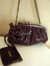 ISABELLA FIORE SNAKE EMBOSSED FLOWER LEATHER CLUTCH BAG W/COIN PURSE