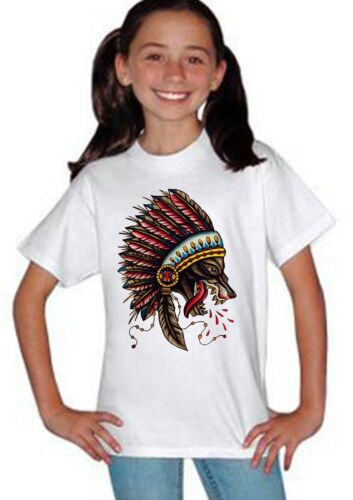 Native American Indian wolf Kids Boys Girls Unisex White Concert Top T shirt 6