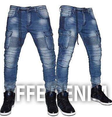 Amichevole Jeans Uomo Denim Tasconi Biker Pantaloni Cargo Multitasche Slim Elastico 6595