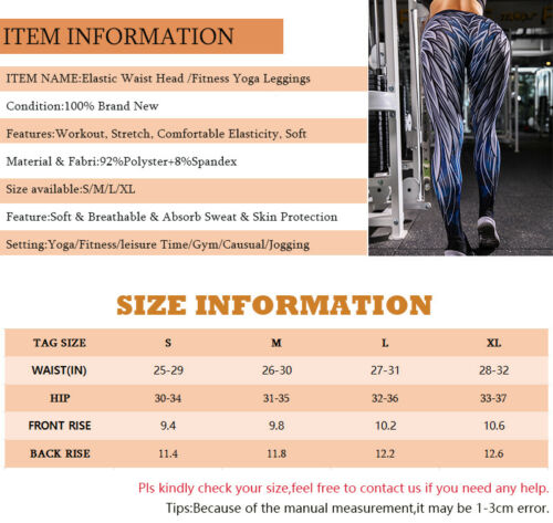 Details about  /Women Fitness Bum Lift Yoga Leggings High Waist Push Up GYM Pants Sport Trousers