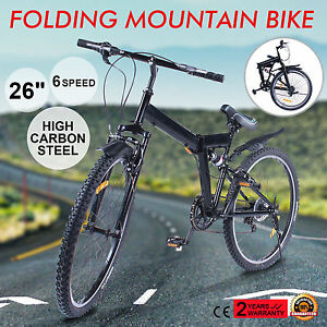 26-034-FOLDING-MOUNTAIN-BIKE-6-SPEED-MTB-BICYCLE-SUSPENSION-MEN-039-S-BIKE-LONG-RIDE