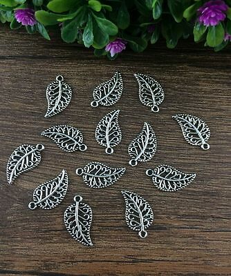 Wholesale 20/100pcs Tibet silver Hollow leaves Charms Connector Jewelry Findings