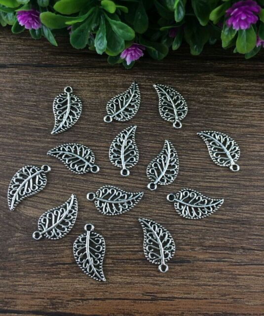 Wholesale 20pcs Tibet silver Hollow leaves Charm Pendant beaded Jewelry Findings