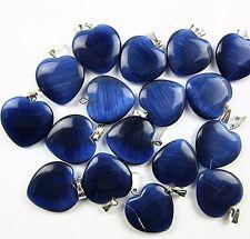 10PCS Beautiful unique sky blue cat eye gemstone heart pendant bead Vk3403 1