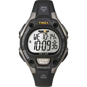 2c0113383988 Timex Ironman Triathlon 30 Lap Mid Size Watch Grey Black with Indigo ...