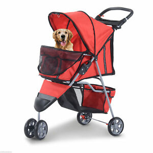 3-Wheel-Pet-Stroller-Cat-Dog-Walker-Jogger-Cart-Travel-Folding-w-Canopy