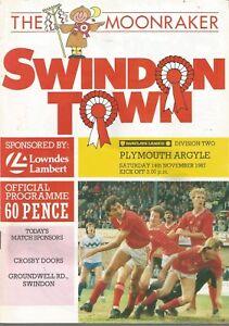 Football Programme  Swindon Town v Plymouth Argyle  Div 2  14111987 - Ilminster, Somerset, United Kingdom - Football Programme  Swindon Town v Plymouth Argyle  Div 2  14111987 - Ilminster, Somerset, United Kingdom