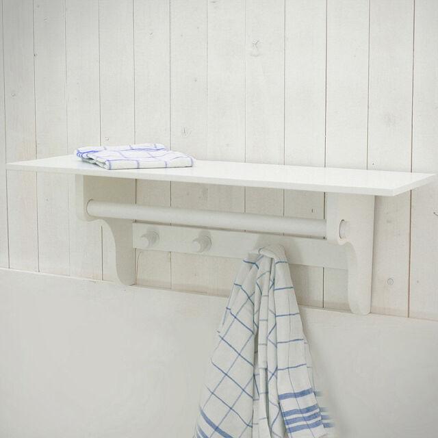 wunderschönes Wandregal, Regal mit 3 Haken und 1 Stange, weiß, 60cm. neu