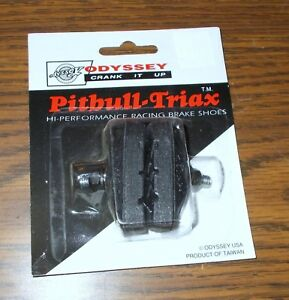 Details about Odyssey Pitbull Triax Hi Performance Brake Shoes Pads Black  NOS Vintage