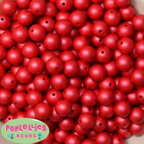 12mm Red Matte Finish Acrylic Bubblegum Beads Lot 40 pc.chunky gumball