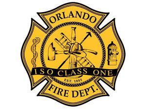 firefighter big 8x8 inch LARGE Black Gold FD Fire Dept Maltese Shaped Sticker